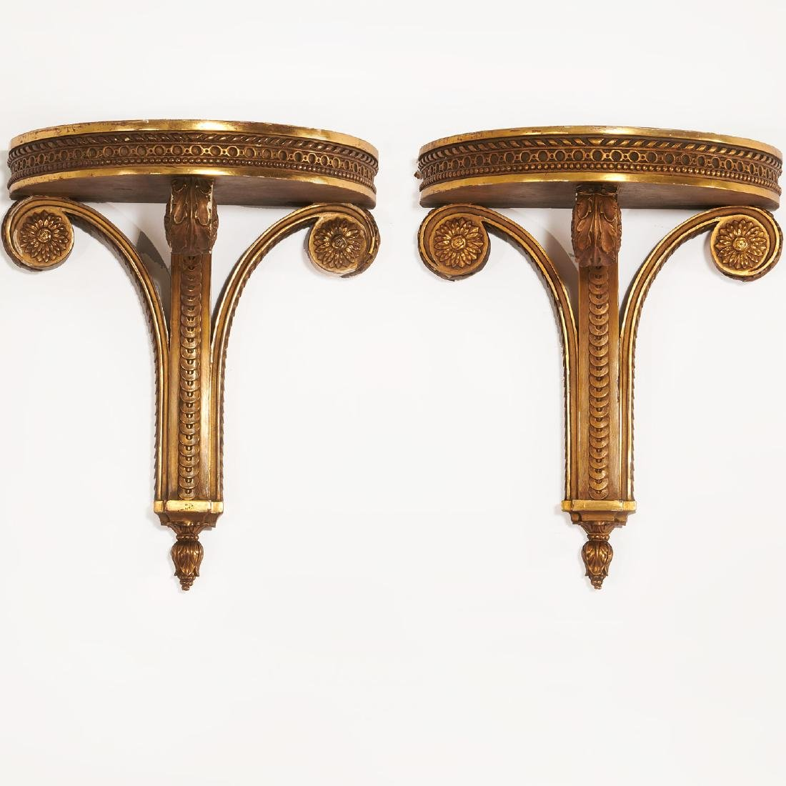 Pair Louis XVI style carved giltwood wall brackets