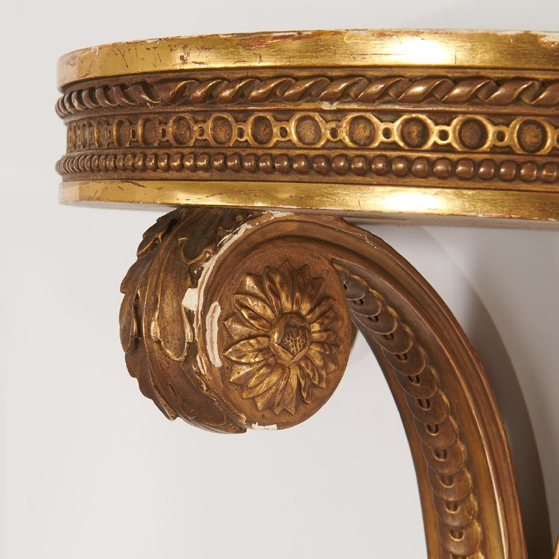 Pair Louis XVI style carved giltwood wall brackets - 4