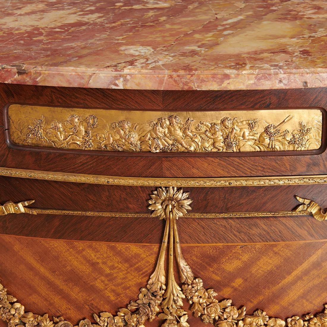 Louis XVI style demi-lune commode after Linke - 3