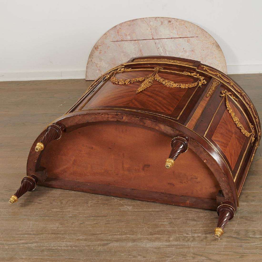 Louis XVI style demi-lune commode after Linke - 9
