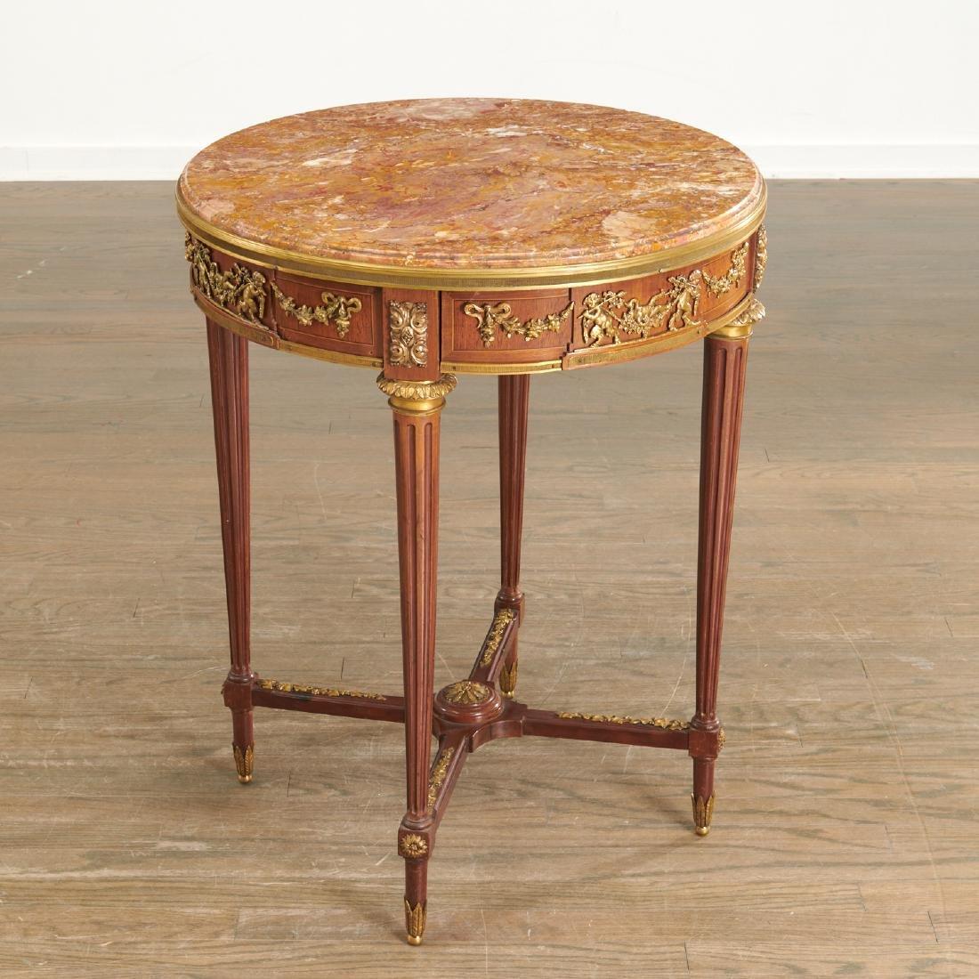 Louis XVI style mahogany marble top gueridon