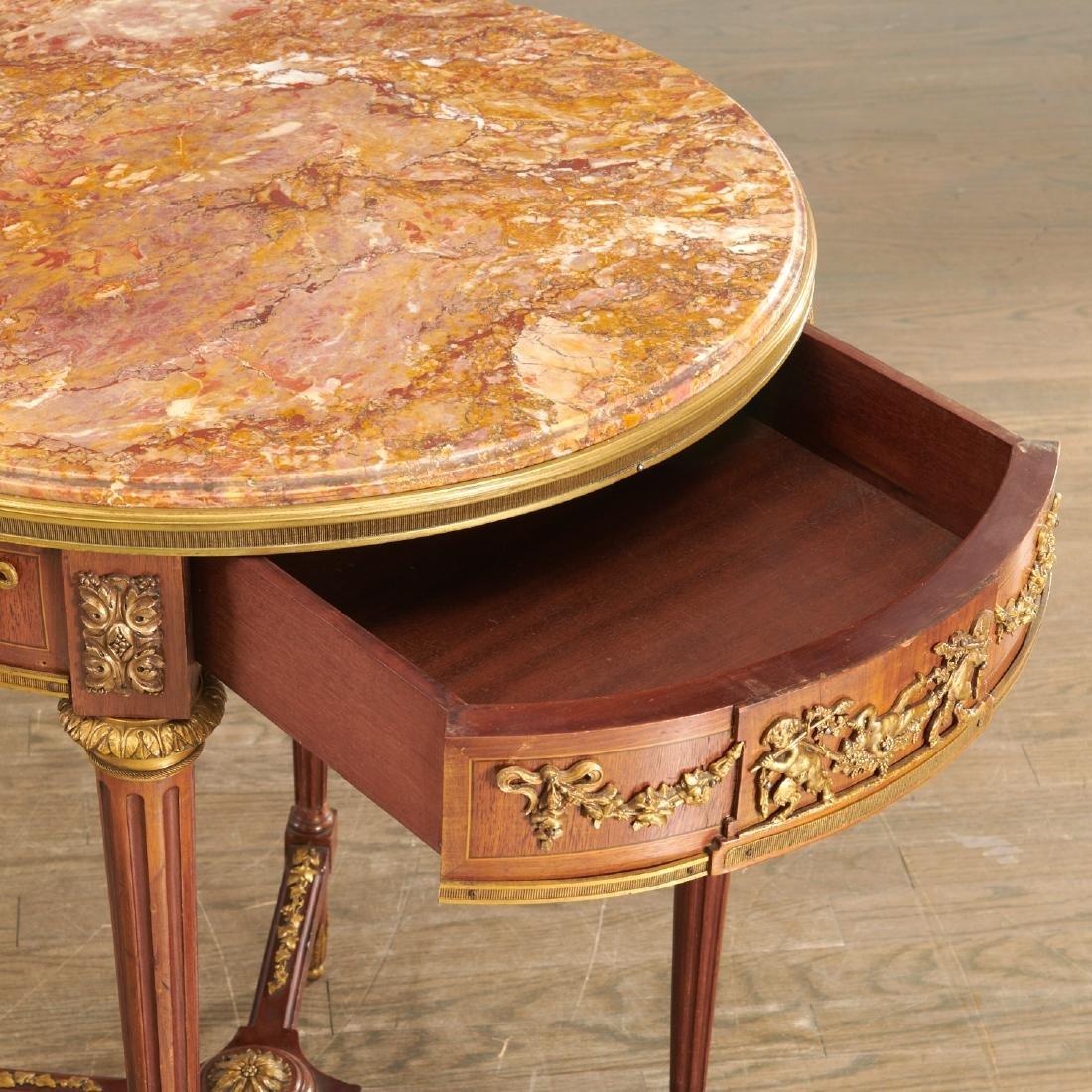 Louis XVI style mahogany marble top gueridon - 2