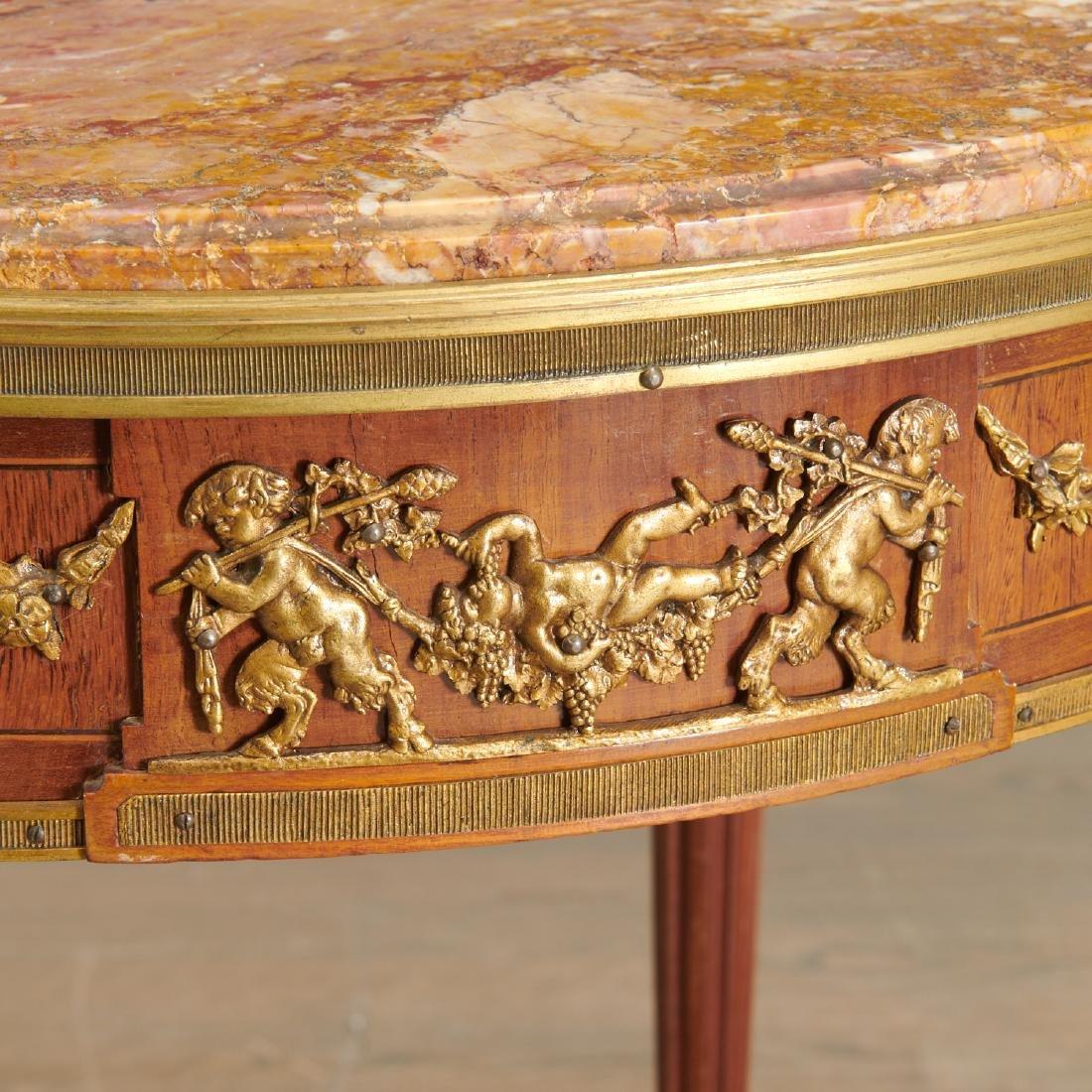Louis XVI style mahogany marble top gueridon - 3