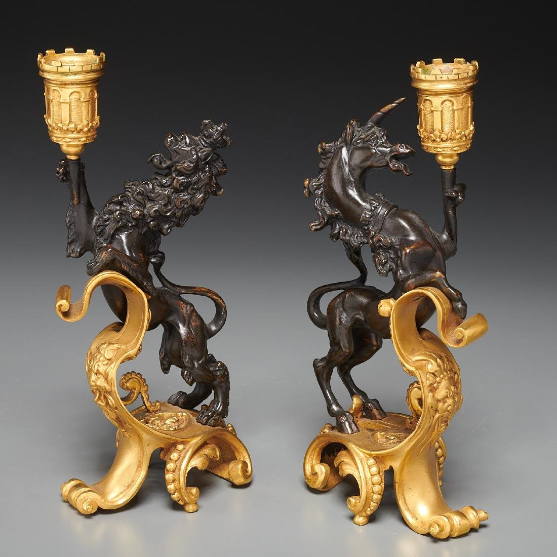 Pair English gilt bronze figural candlesticks