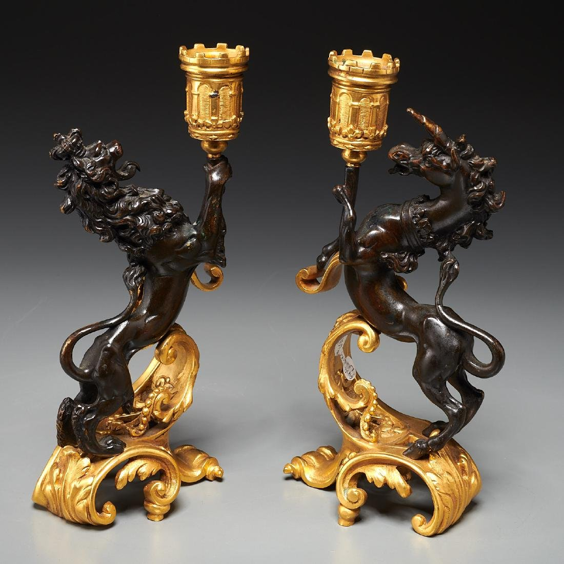 Pair English gilt bronze figural candlesticks - 5