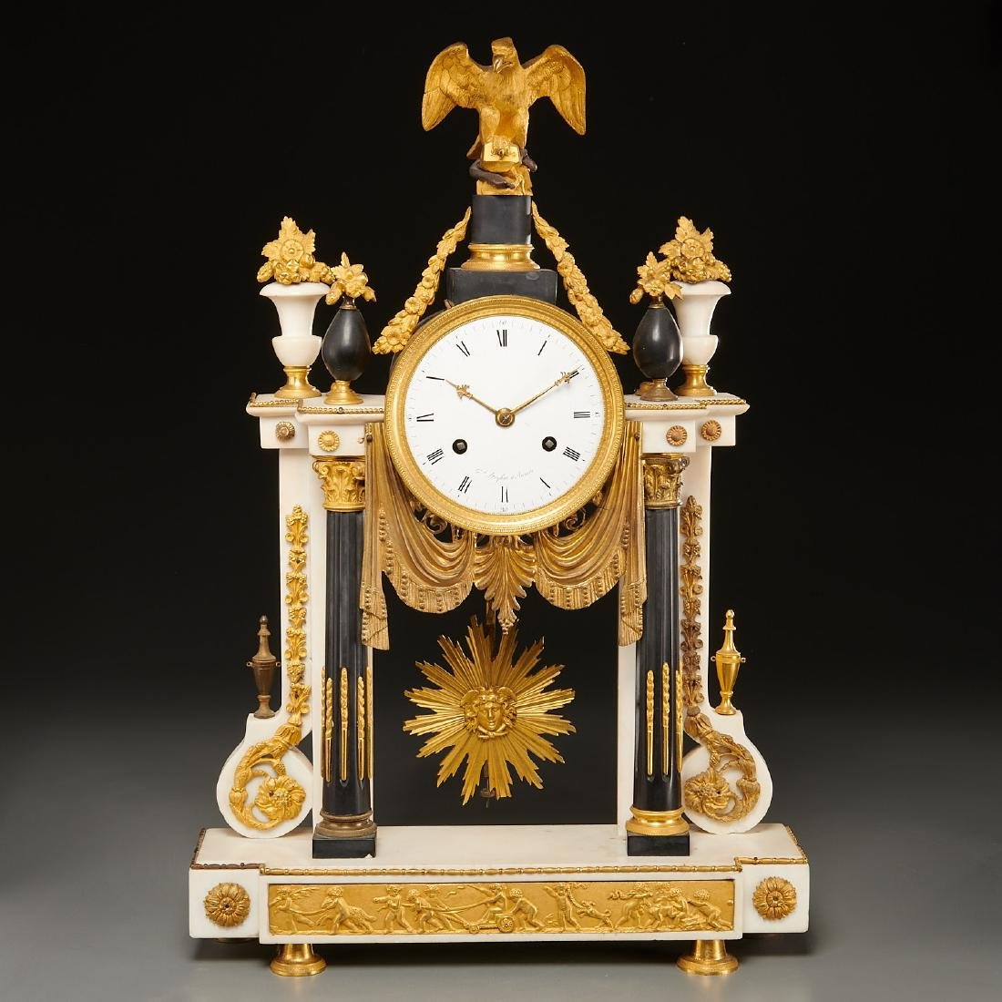 Continental Empire bronze mounted marble clock