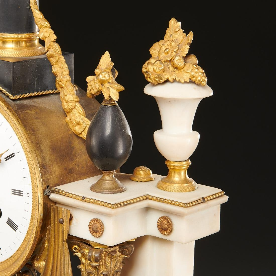 Continental Empire bronze mounted marble clock - 6
