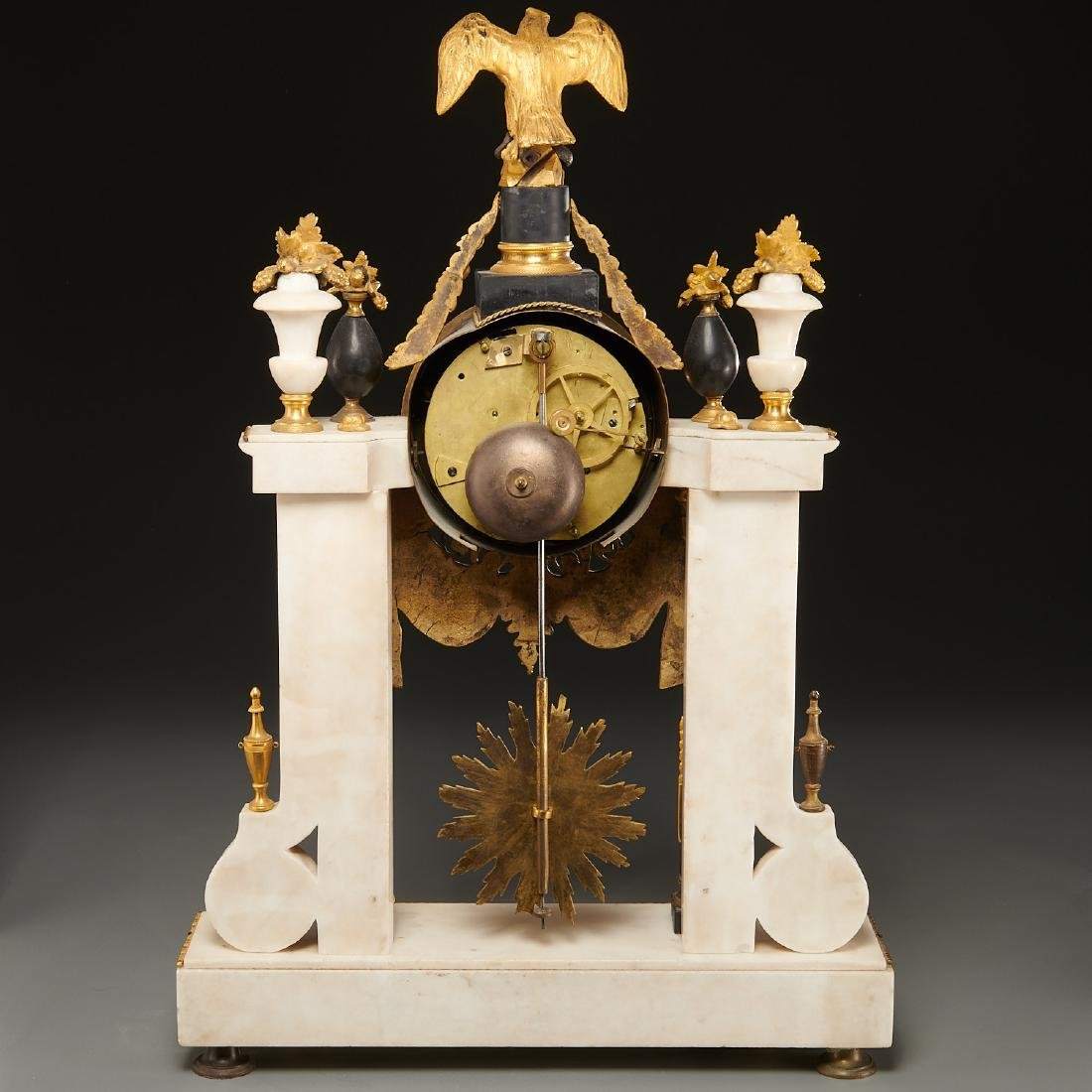 Continental Empire bronze mounted marble clock - 8