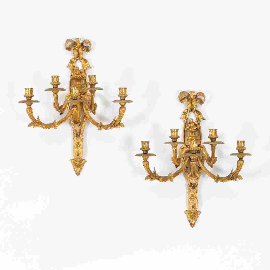 Pair Louis XVI style gilt bronze wall sconces