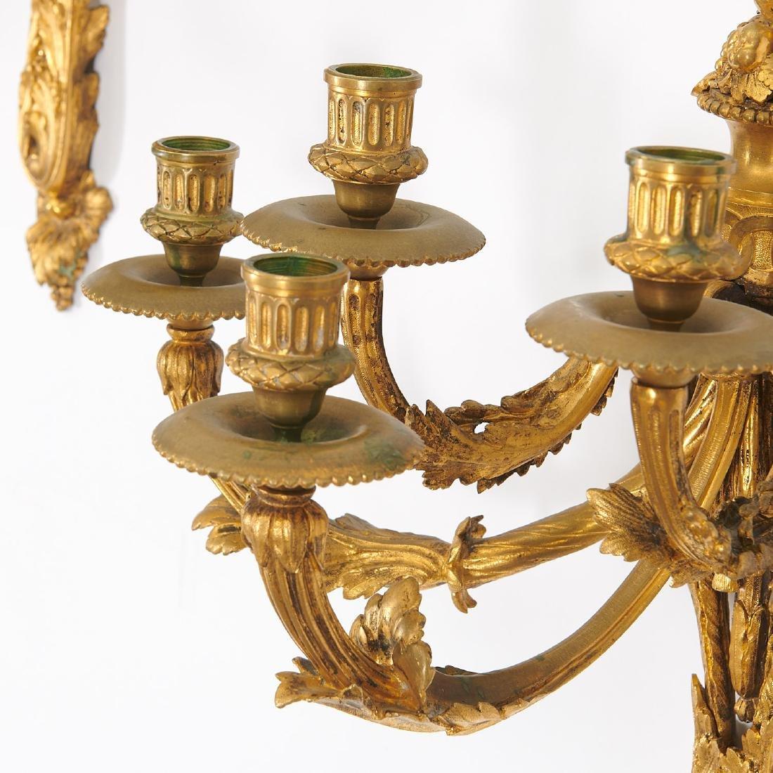 Pair Louis XVI style gilt bronze wall sconces - 3