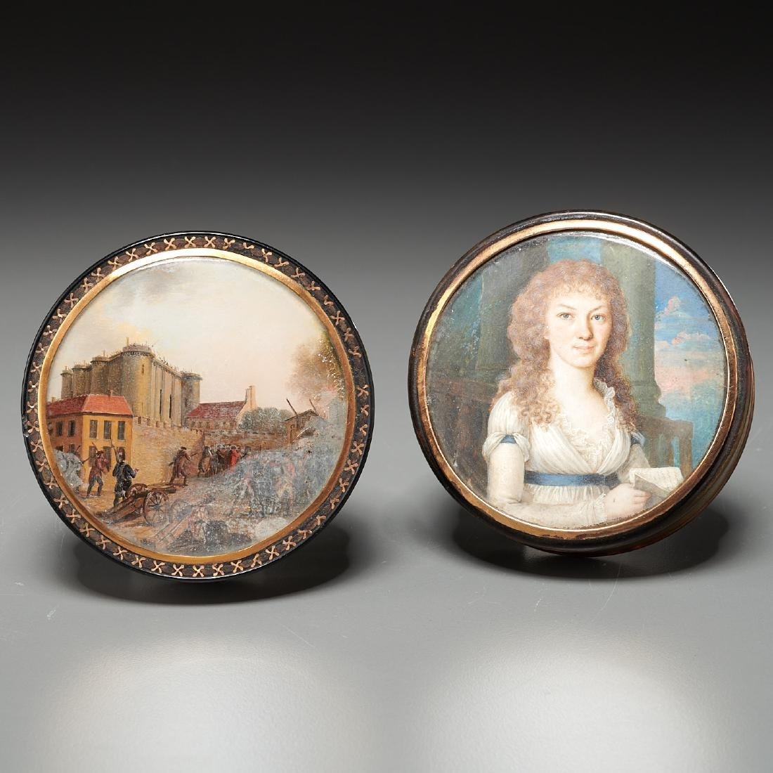 (2) French gold-mounted portrait miniature boxes
