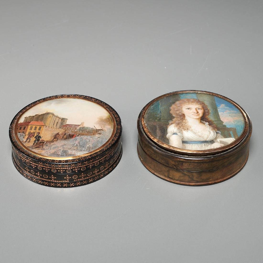 (2) French gold-mounted portrait miniature boxes - 2