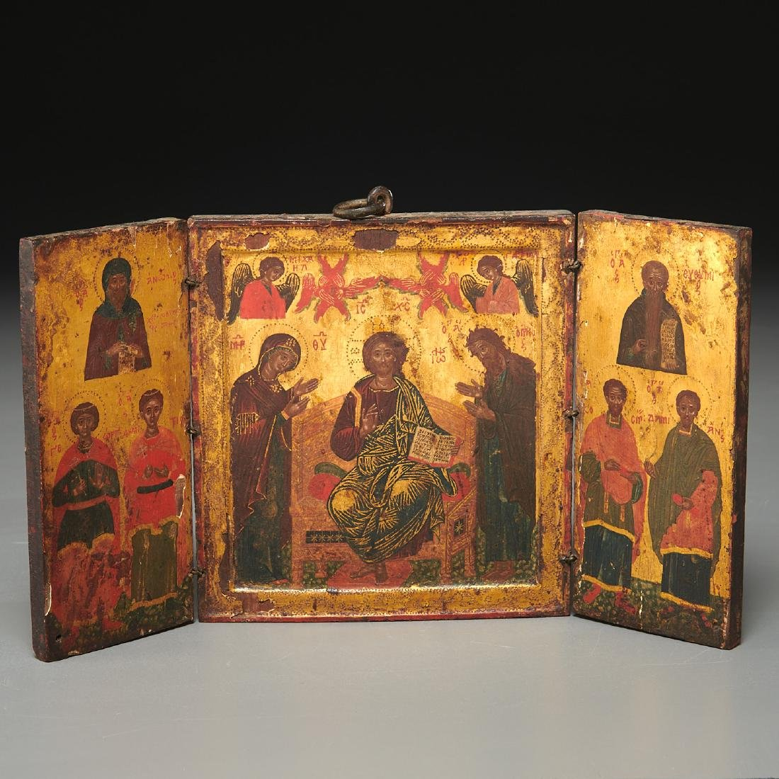 Greek Icon, triptych panel painting