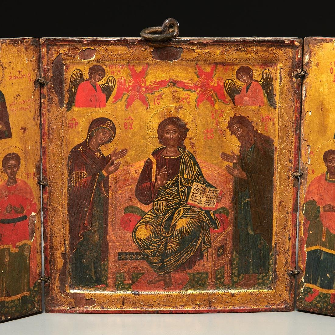 Greek Icon, triptych panel painting - 2