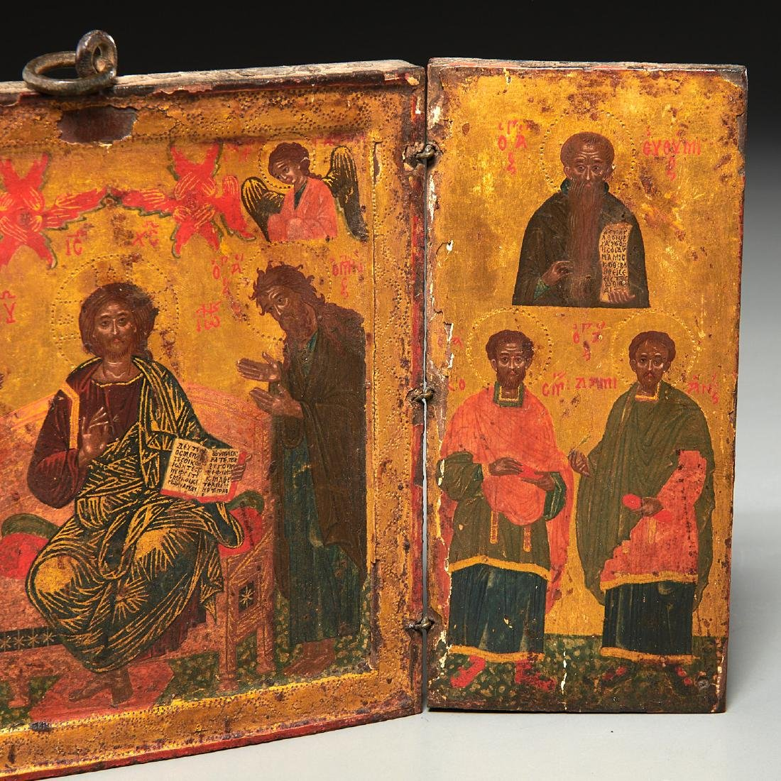Greek Icon, triptych panel painting - 3