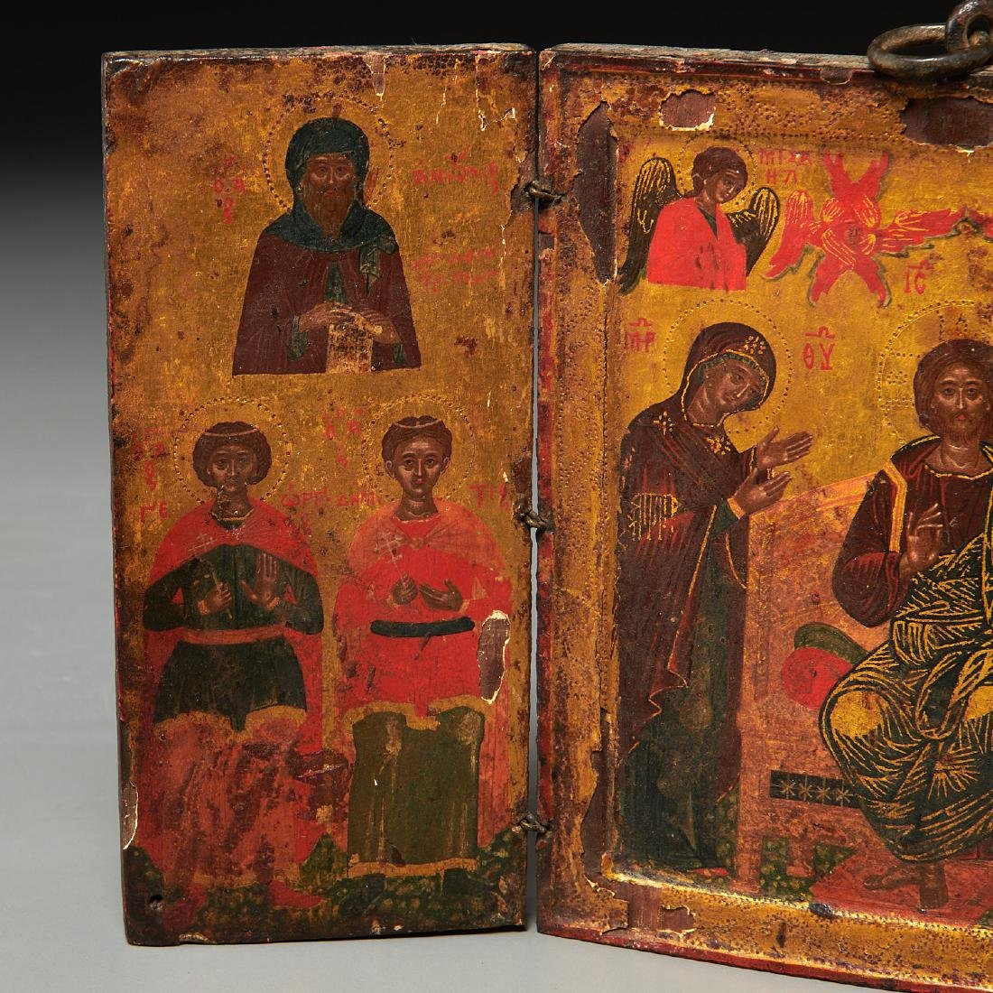 Greek Icon, triptych panel painting - 4