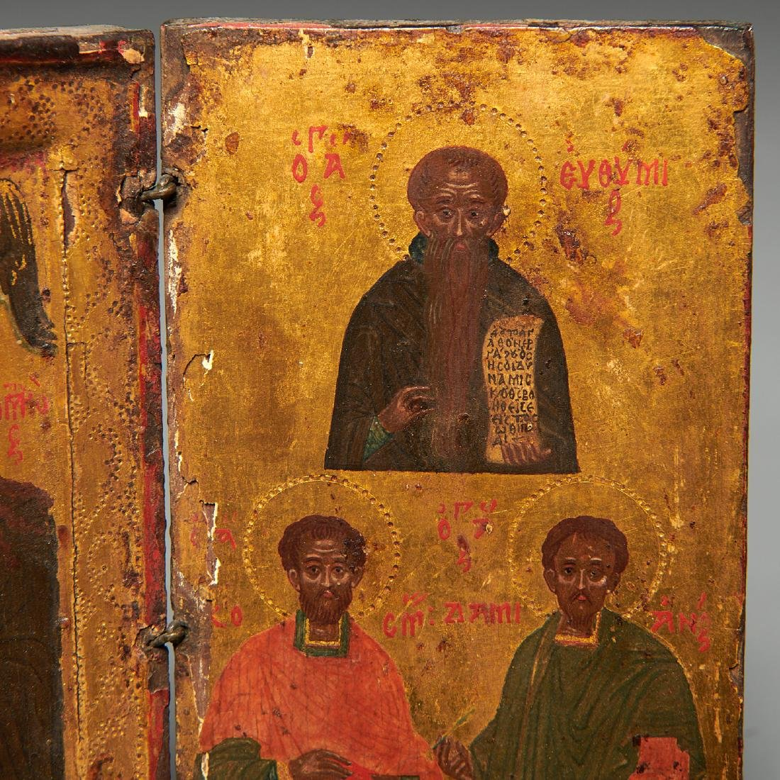 Greek Icon, triptych panel painting - 6