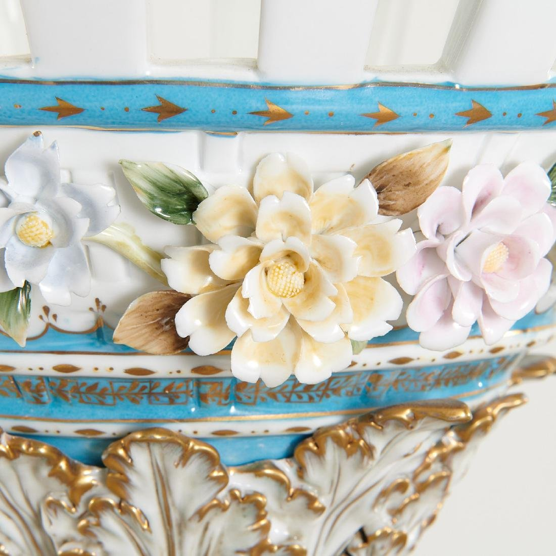 Large German porcelain figural pedestal jardiniere - 10