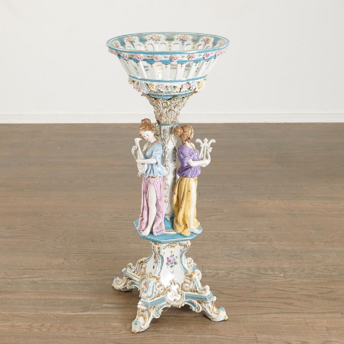 Large German porcelain figural pedestal jardiniere