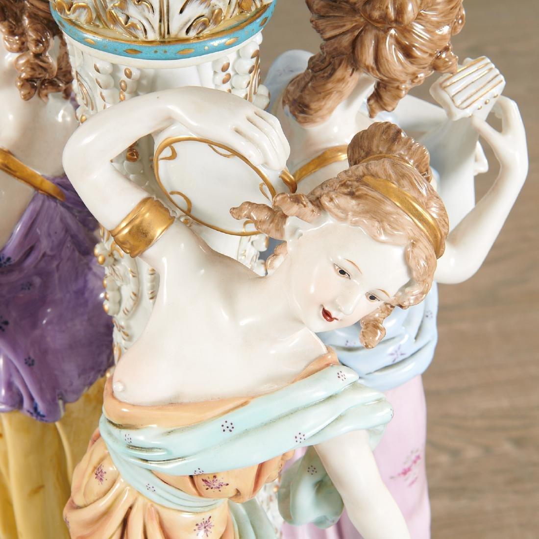 Large German porcelain figural pedestal jardiniere - 2