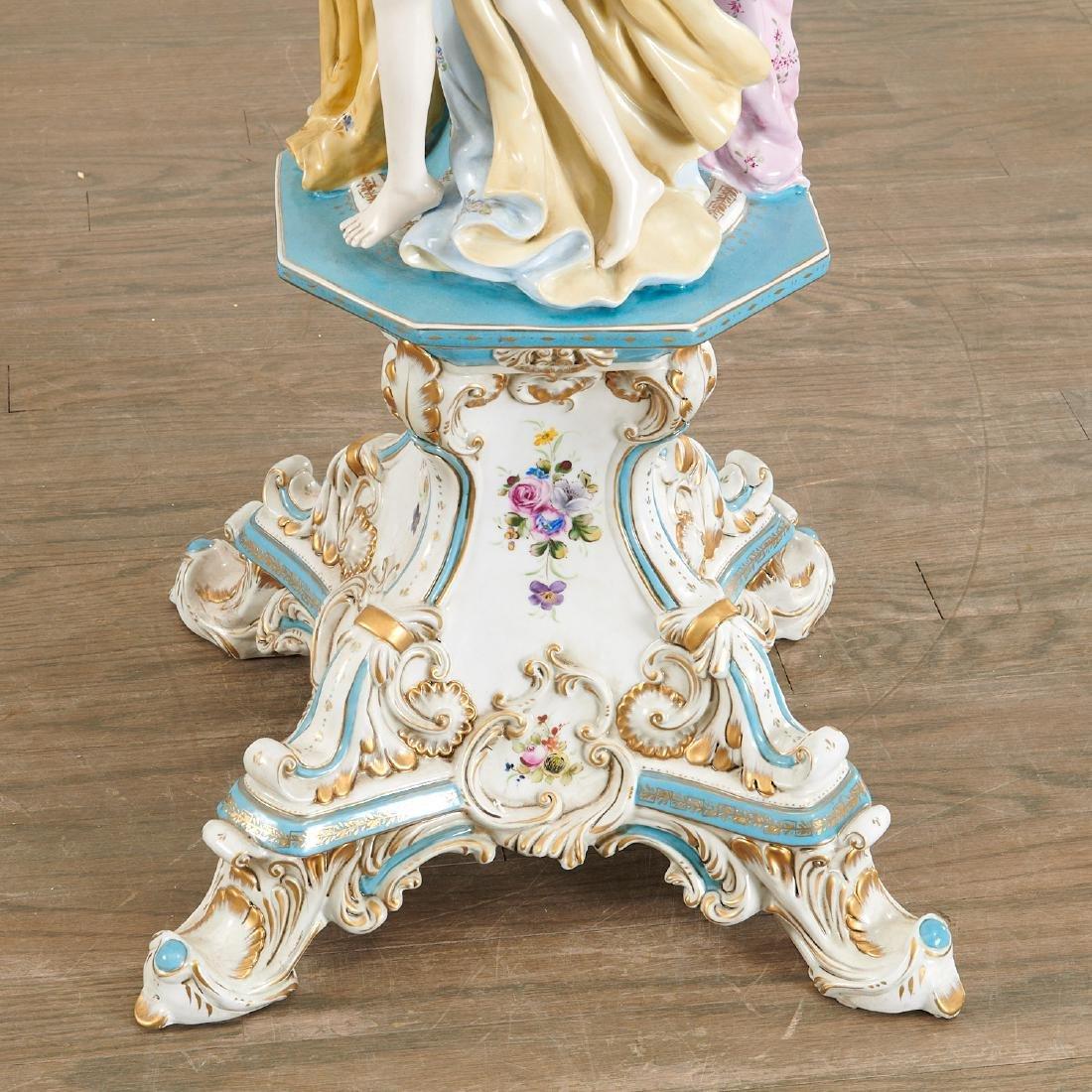 Large German porcelain figural pedestal jardiniere - 3