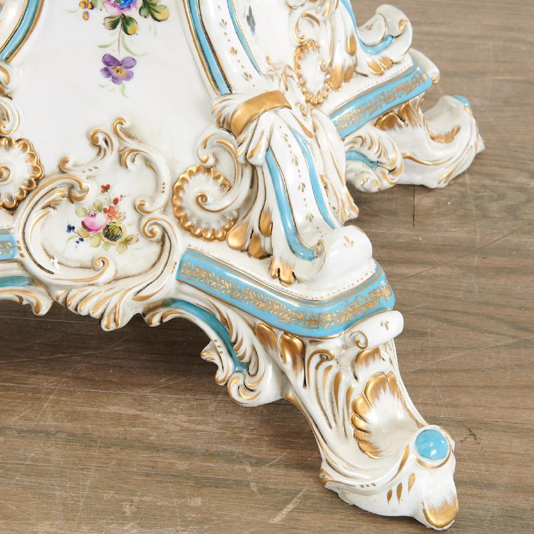 Large German porcelain figural pedestal jardiniere - 4