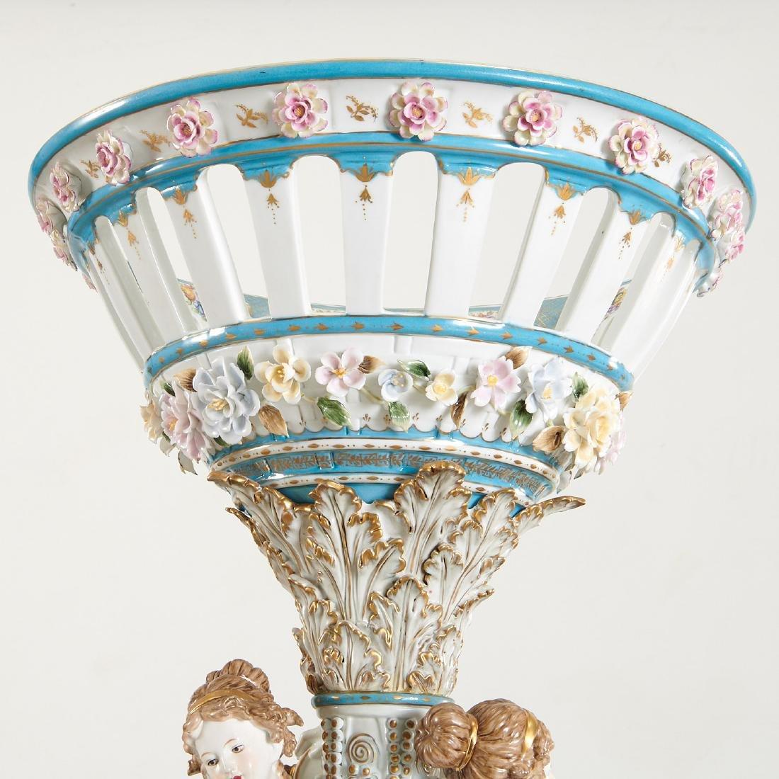 Large German porcelain figural pedestal jardiniere - 6