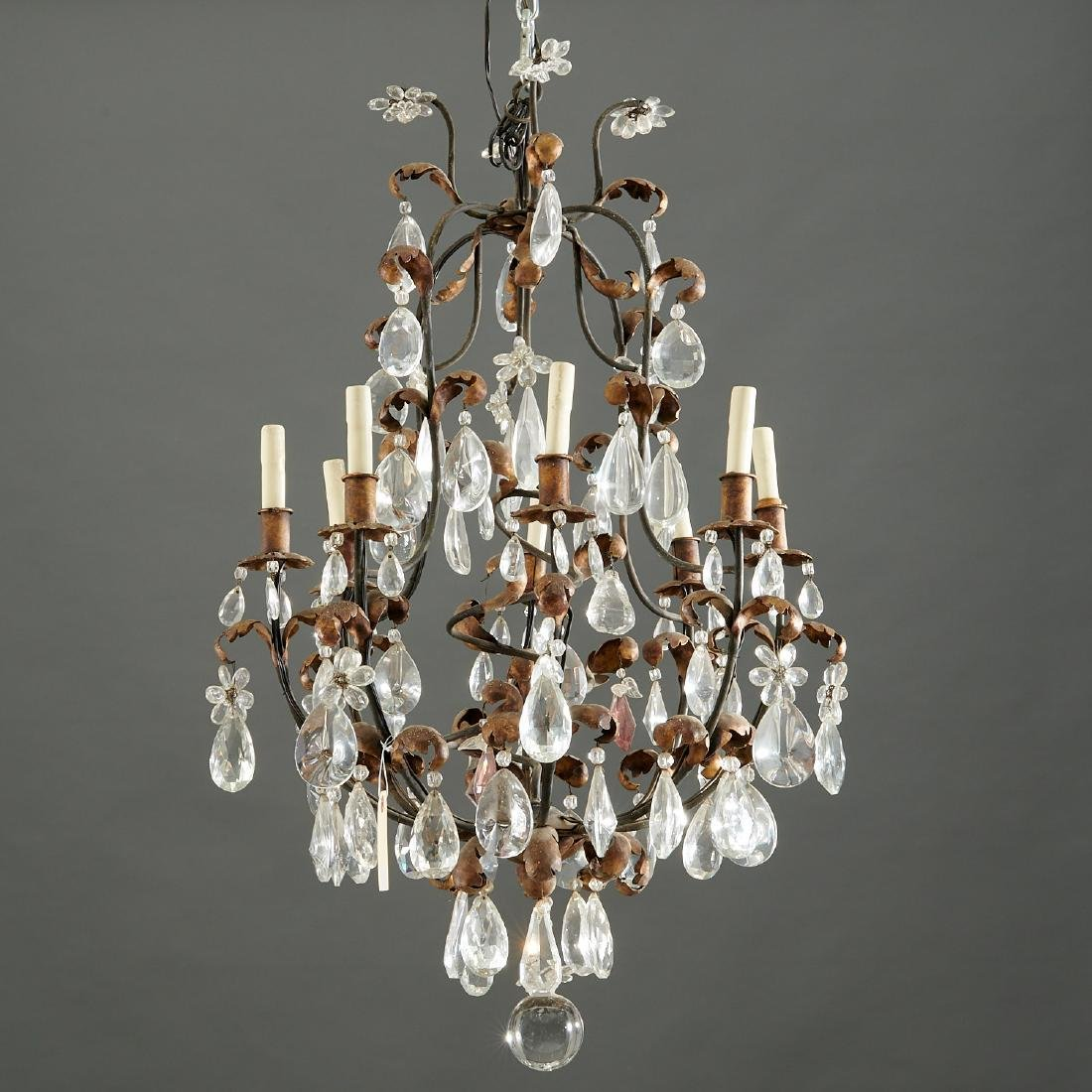 French gilt tole and crystal chandelier