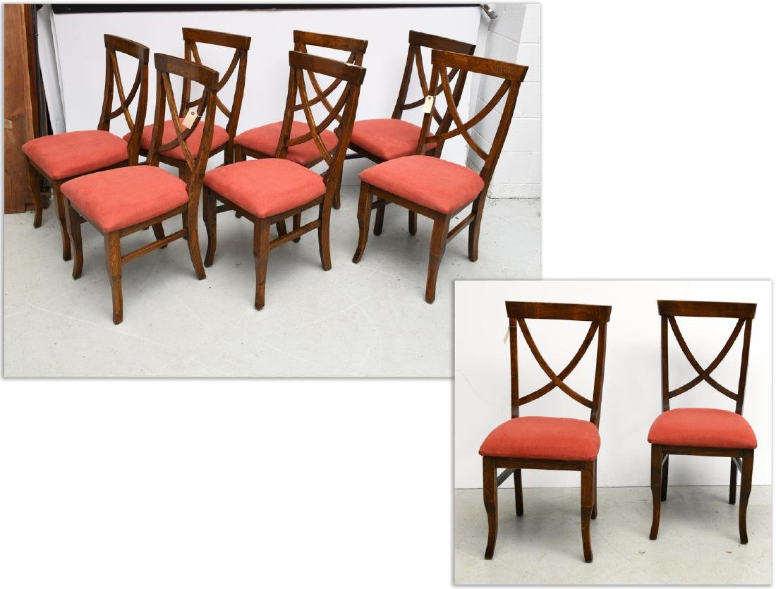 Set (9) Four Hands upholstered oak dining chairs
