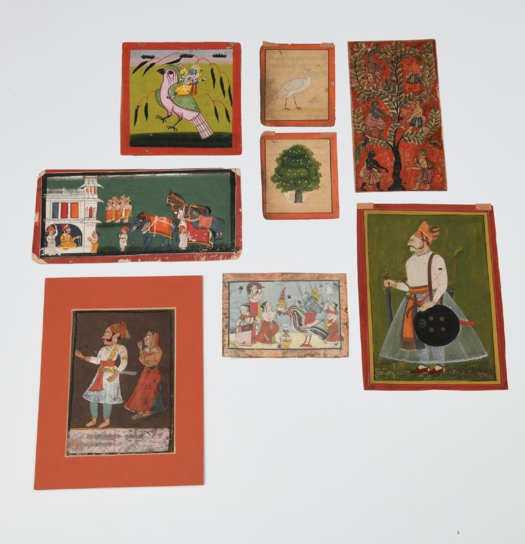 Indian School, (8) miniature Mughal paintings