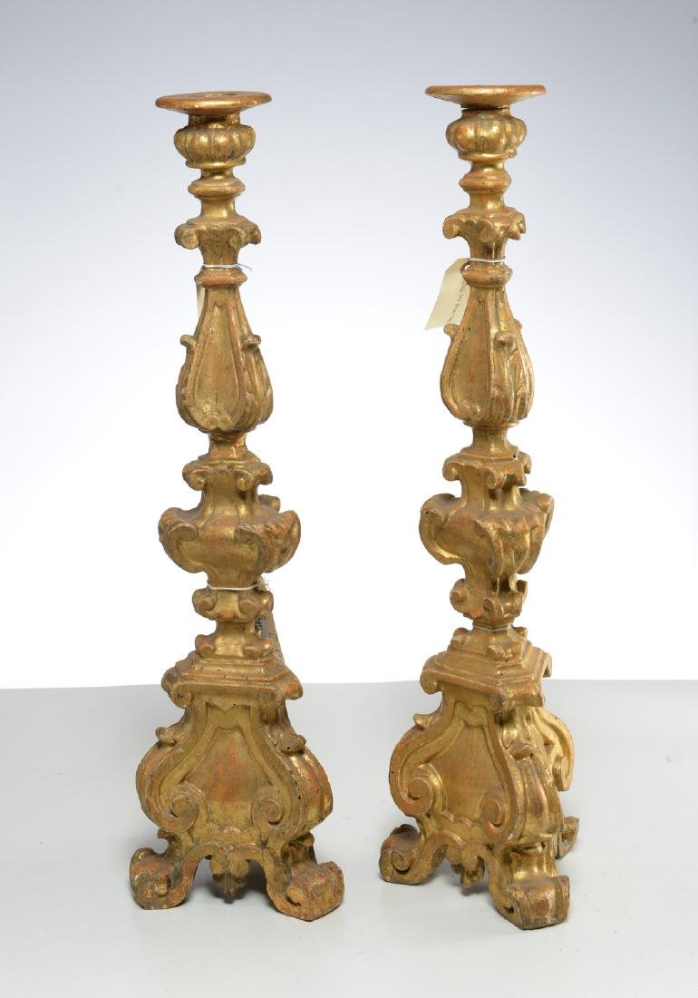 Pair Italian Baroque giltwood candle prickets
