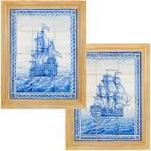 (2) Antique Delft tile warship pictures