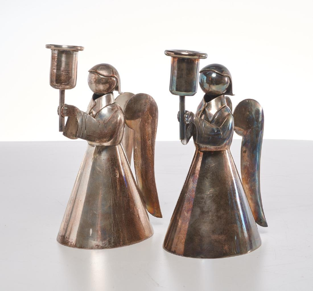 Pair Los Castillo angel candlesticks