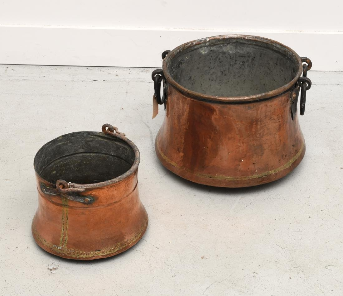 (2) old French copper pots with iron handles