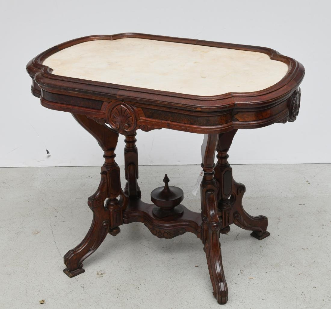 Victorian marble top walnut turtle top table