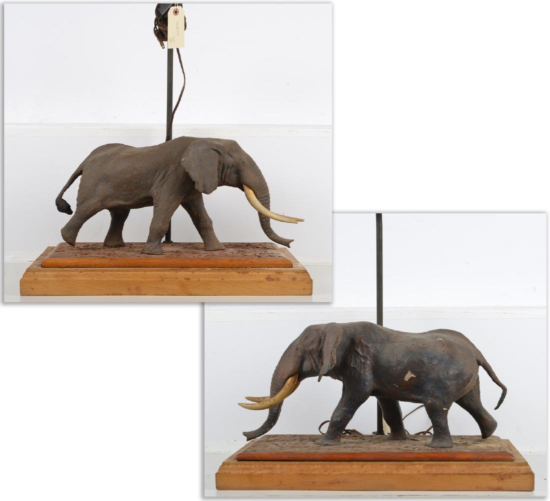 Pair large vintage African elephant lamps