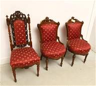 Assembled set (3) Victorian parlor chairs