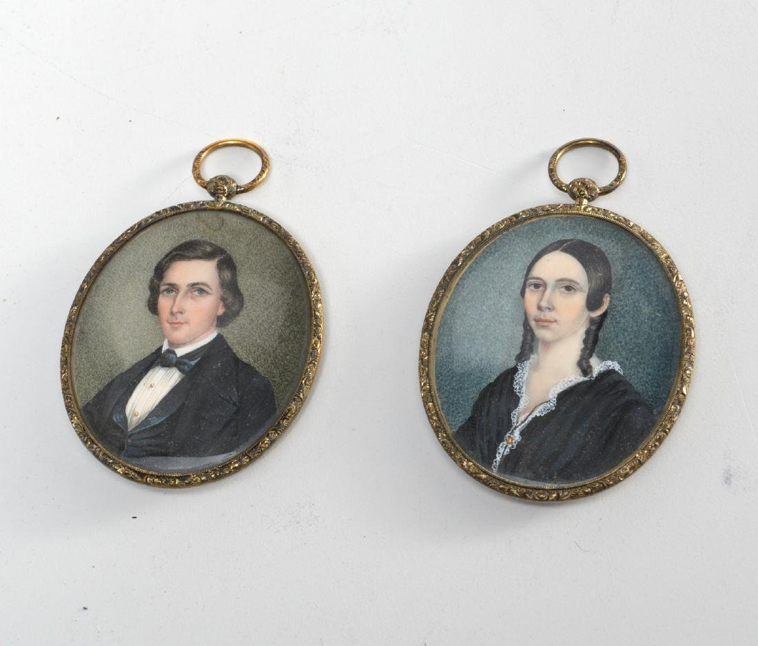 Nice pair hand-painted portrait miniatures