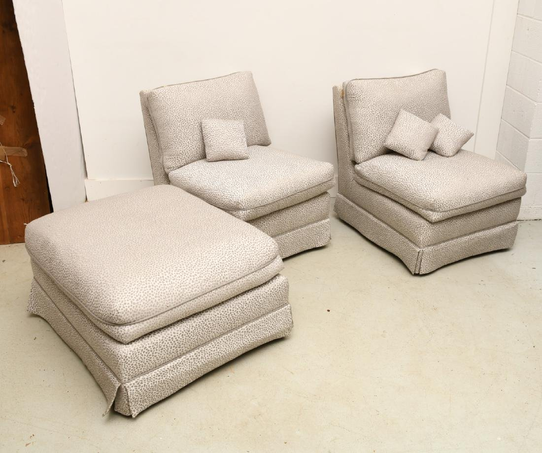 Silver leopard upholstered lounge chairs & ottoman