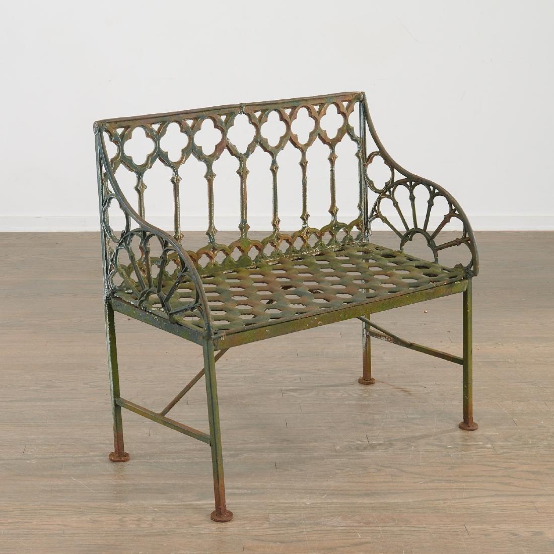Gothick cast iron garden bench