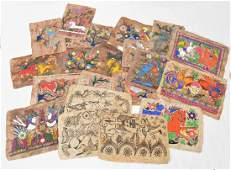Mexican School, folk art paintings on Amate bark