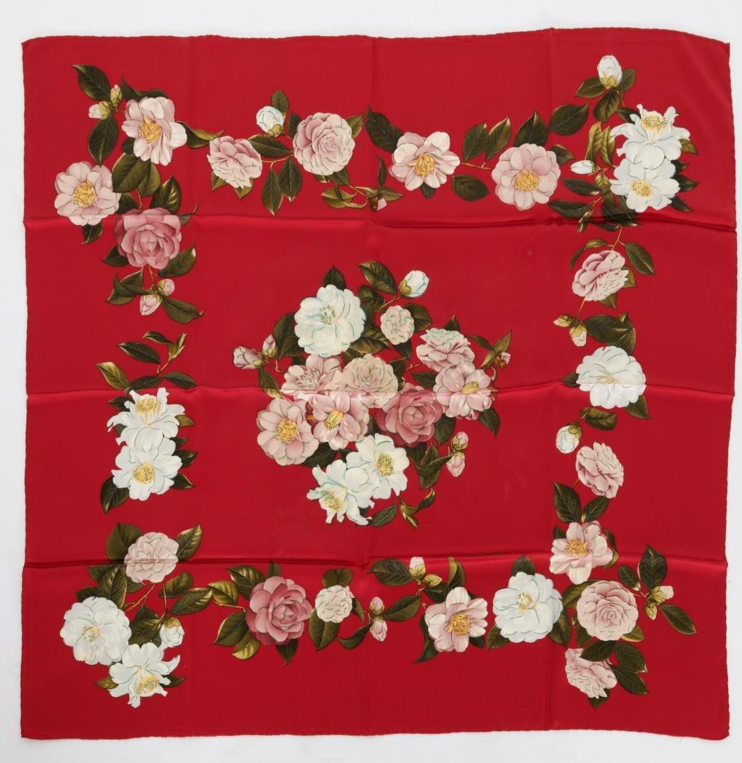 Chanel France camellia print scarf