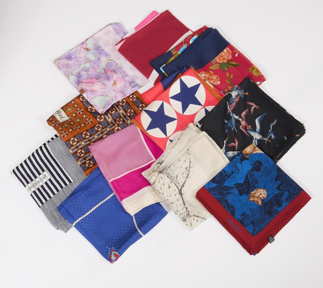 Group of ladies designer silk scarves