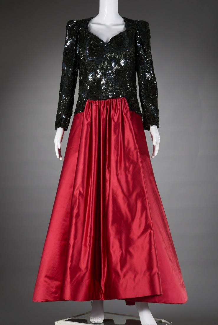 Arnold Scaasi satin and sequin ball gown