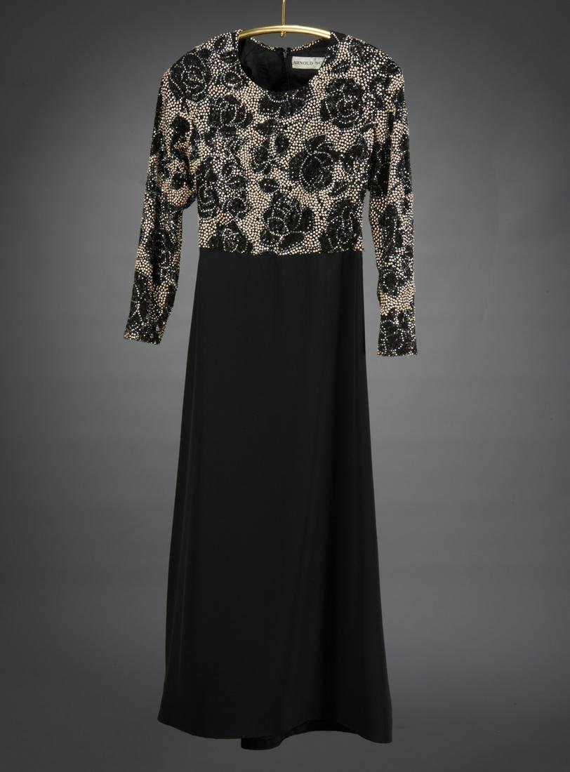 Arnold Scaasi silk beaded evening gown