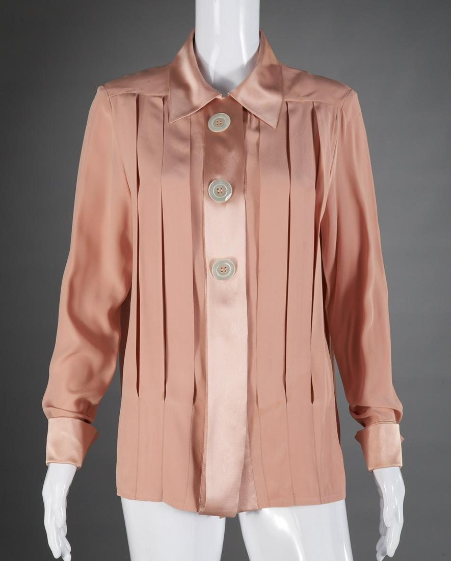 Chanel Boutique dusty rose silk blouse