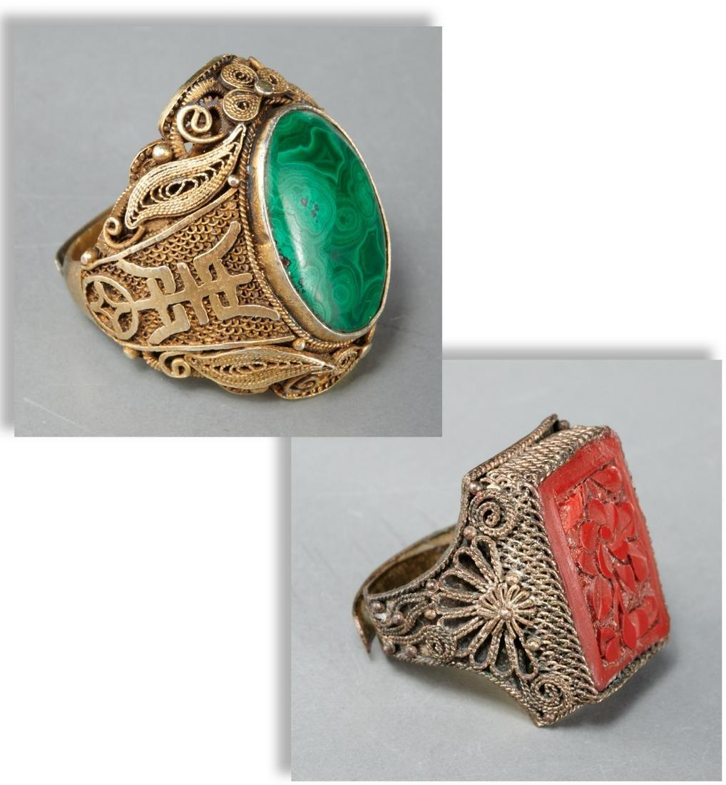 (2) vintage Chinese adjustable rings