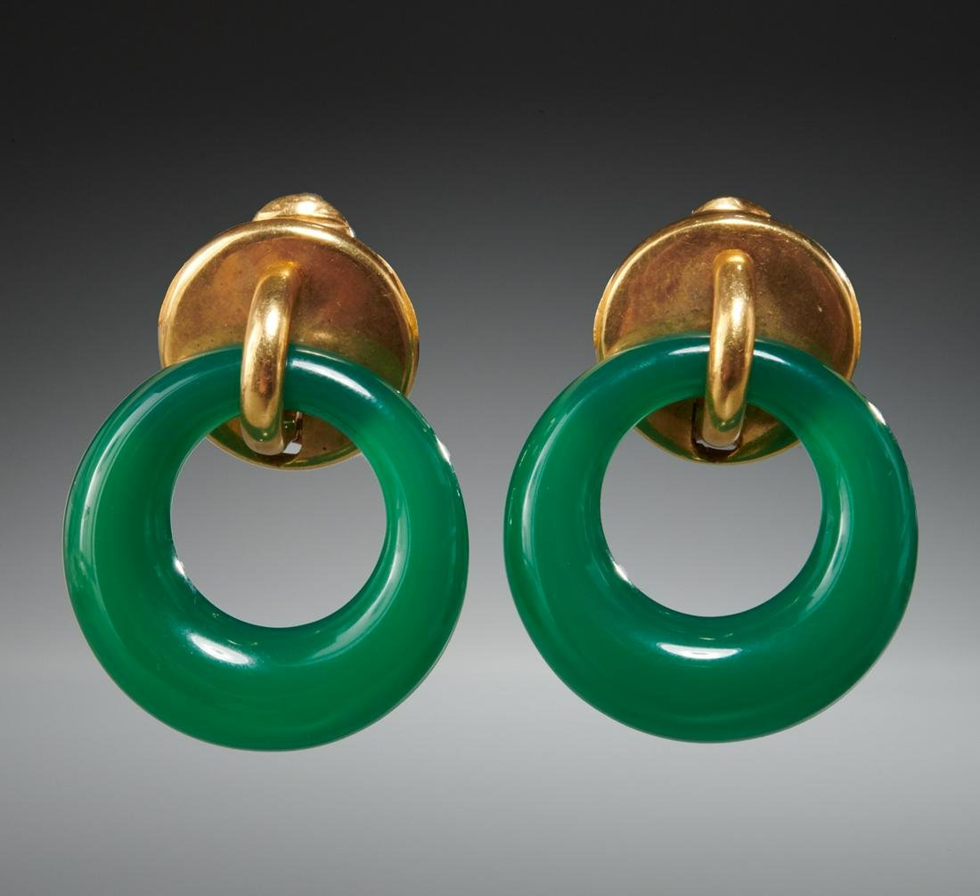 18k gold & jade clip style earrings