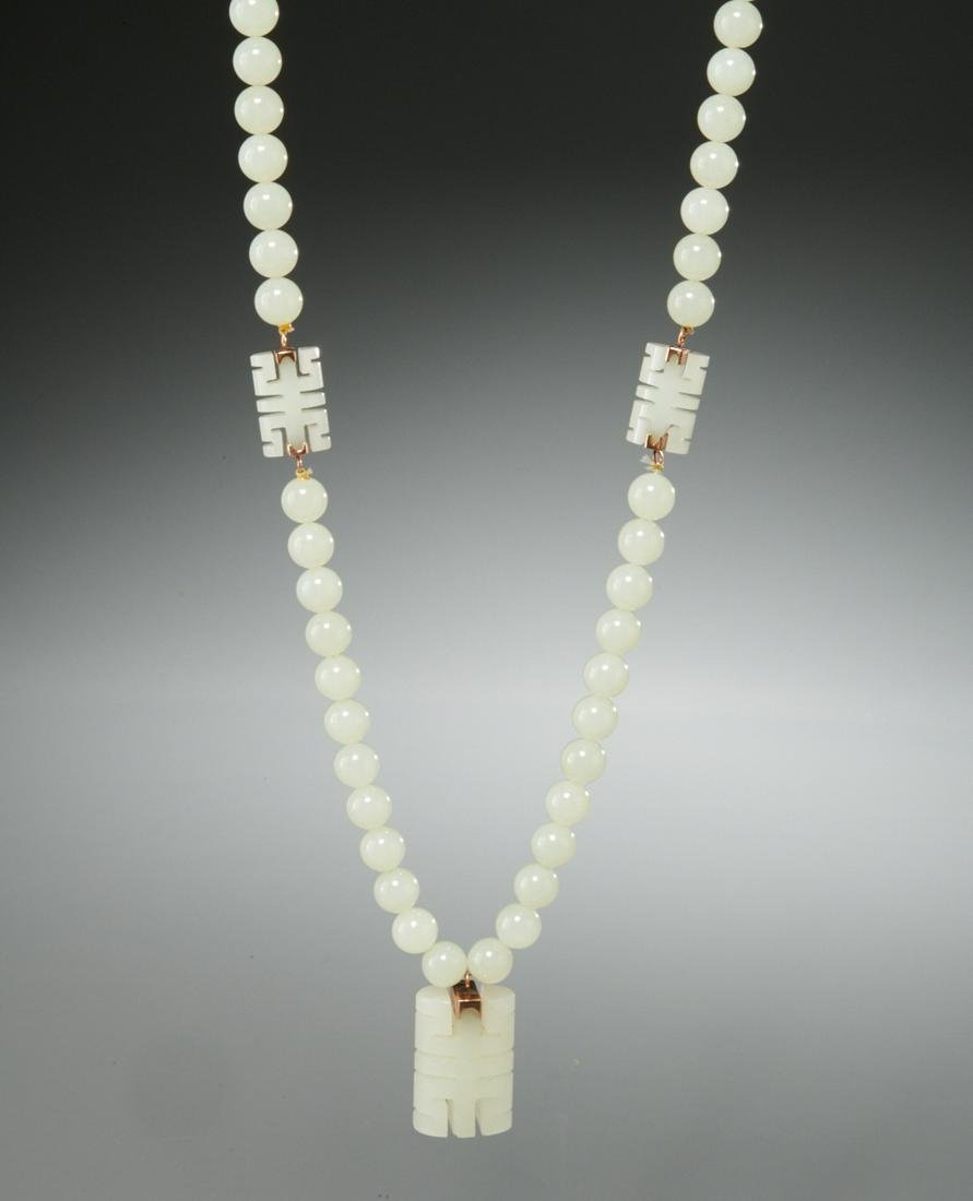 Nephrite white jade beaded necklace