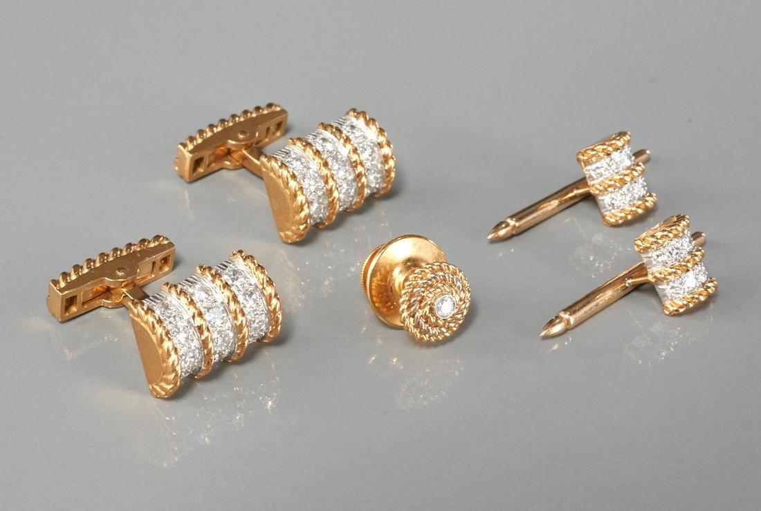 Men's 18k gold and diamond tuxedo set
